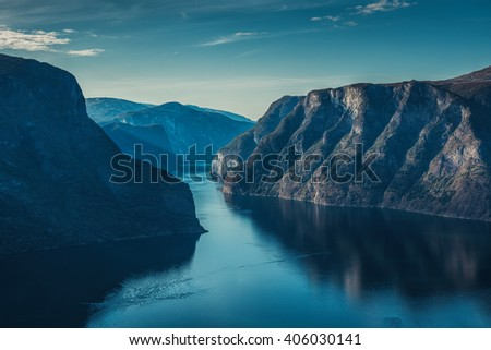 Norway fjord landscape. Morning soft blue colors. - stock photo