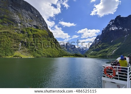 Norway Fjord Scenic. Travel a Norway sognefjord cruises enjoy the scenery. Photo taken on:June 8, 2015