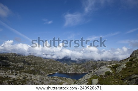 Norway Fjords, majestic nordic seascape, breathtaking fjords view - stock photo