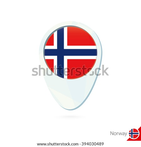 Norway flag location map pin icon on white background. Raster copy. - stock photo