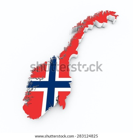 norway flag on 3d map