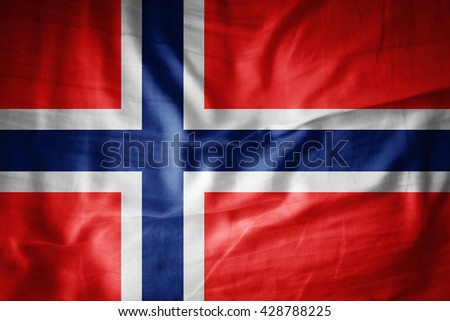 Norway flag on grunge fabric