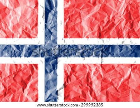 Norway flag painted on crumpled paper background. - stock photo