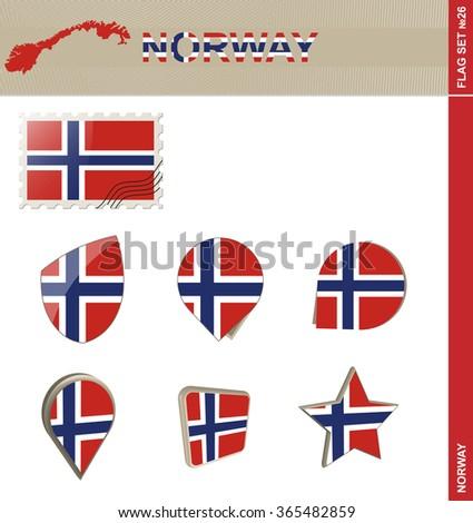 Norway Flag Set, Flag Set 26. Rasterized Copy. - stock photo