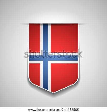 Norway Flag Shield - stock photo