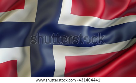 Norway flag waving in the wind 3d rendering - stock photo