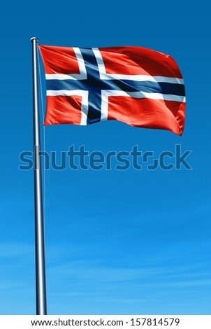 Norway flag waving on the wind - stock photo