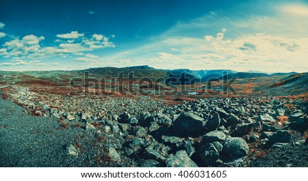 Norway high mountains panorama. Film style color effects. - stock photo