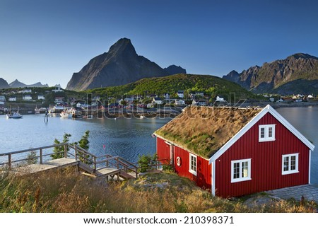 Norway. Image of fishing village in Lofoten Islands area in  Norway. - stock photo