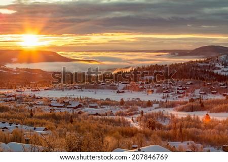 Norway in winter. - stock photo