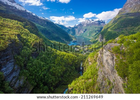 Norway lake in spring - stock photo