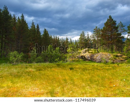 Norway landscape. Hay on farm - stock photo