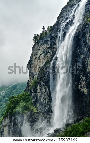 Norway landscape with big waterfall - stock photo