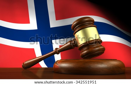 Norway law, legal system and justice concept with a 3d render of a gavel on a wooden desktop and the Norwegian flag on background. - stock photo