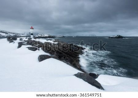 Norway Lofoten kabelvag - stock photo