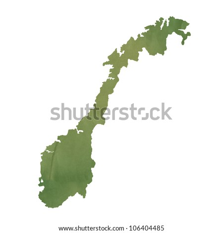 Norway map in old green paper isolated on white background.
