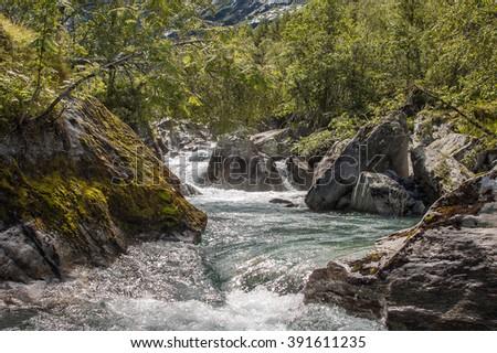 Norway, mountain river, stream. - stock photo
