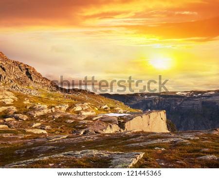 Norway mountains - stock photo