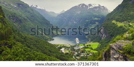 Norway Mountains And Fjord View - Geirangerfjord, Stranda, Norway - stock photo