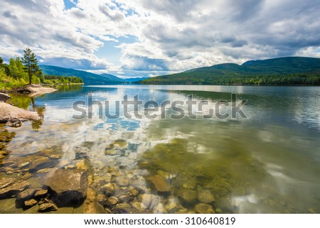 Norway Nature Fjord, Autumn Season. Landscape With Mountain, Pure Water Lake, Pond, Sea - stock photo