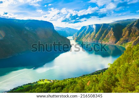 Norway Nature Fjord, Summer Sognefjord. Sunny Day, Landscape With Mountain, Pure Water Lake, Pond, Sea - stock photo