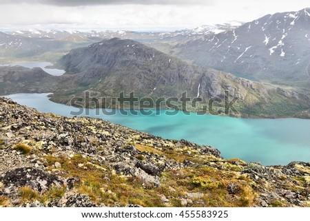 Norway nature - Jotunheimen National Park. Besseggen ridge trail between two lakes (Gjende and Bessvatnet). Oppland county landscape. - stock photo
