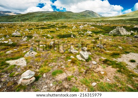 Norway Nature Landscapes, Mountain Under Sunny Blue Sky - stock photo