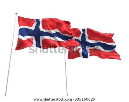 Norway & Norway Flags are waving on the isolated white background - stock photo