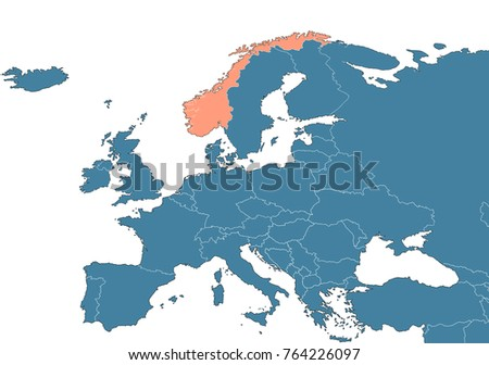 Norway On Map Europe Stock Illustration Shutterstock - Where is norway on a map