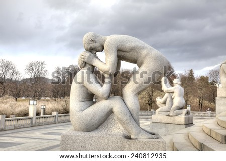 NORWAY, OSLO - April 29.2013: Enormous amount of sculptures and sculptural groups of author Gusava Vigeland in Frogner park