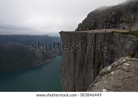 Norway, Preikestolen / Preikestolen or Prekestolen, also known by the English translations of Preacher's Pulpit or Pulpit Rock, is a famous tourist attraction in Forsand, Ryfylke, Norway.