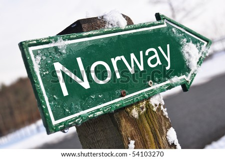 NORWAY road sign - stock photo