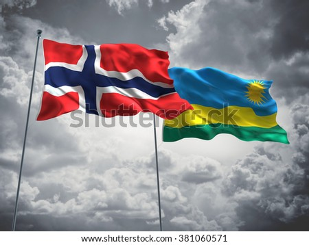 Norway & Rwanda Flags are waving in the sky with dark clouds
