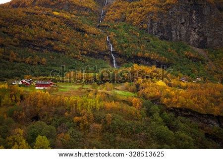 Norway, Sogne fjord, mountain village by Sogne fjord near Bergen/Sogne fjord, Norway - stock photo