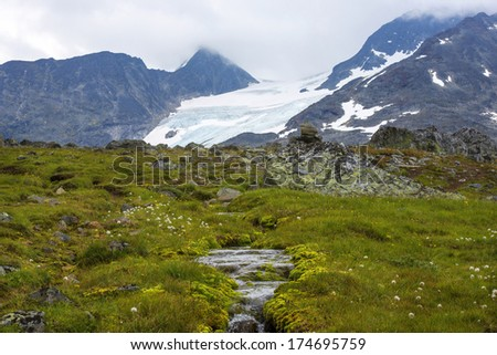 Norway, stunning landscape with a view of the glacier - stock photo