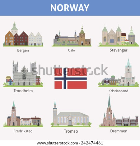 Norway. Symbols of cities. Raster version - stock photo
