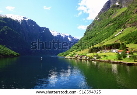 Norway. The picturesque village on the shores of the Sognefjord summer day.