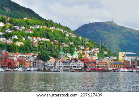 Norway. View of the city of Bergen on the background of mountains