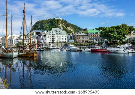 Norway yacht: seafront of Norwegian town Alesund in summer season.