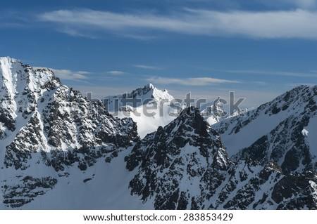 Norwegian alpine mountains in winter - stock photo