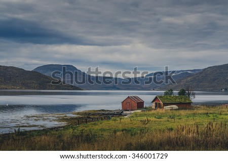 Norwegian autumn scenery, lot of colors - stock photo