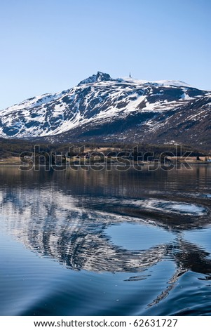 Norwegian coast landscape with reflections in the water