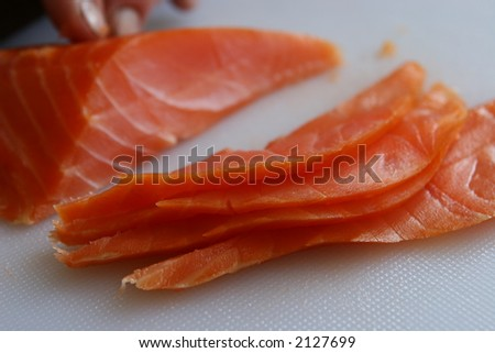 Norwegian cold smoked salmon - stock photo