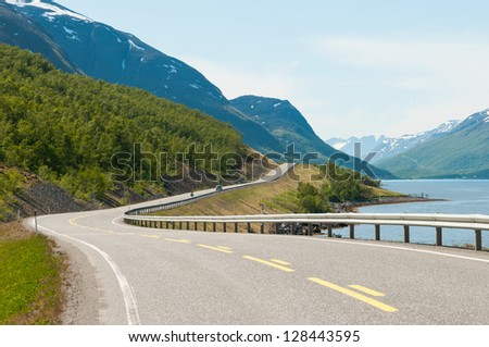 Norwegian country road in the summer. Langfjord, Finnmark. - stock photo