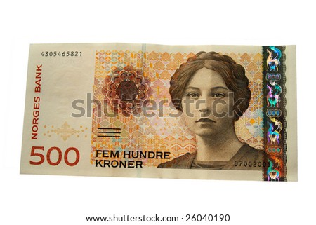Norwegian 500 crones paper banknote isolated on white
