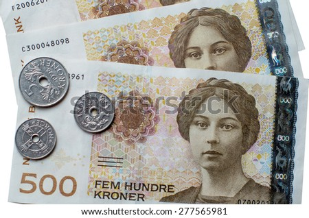 Norwegian 500 crones paper banknotes - stock photo