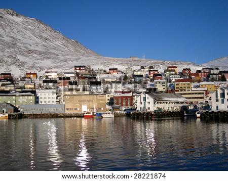 Norwegian Fishing port - stock photo