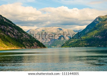 Norwegian fjord and mountains. Norway. - stock photo