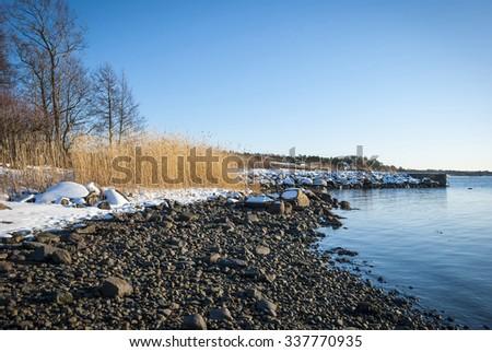 Norwegian fjord on sunny winter day - stock photo