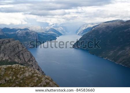 norwegian fjords - stock photo